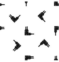 bottles pattern seamless black vector image
