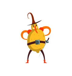 Brave lemon cartoon character man in fruit vector