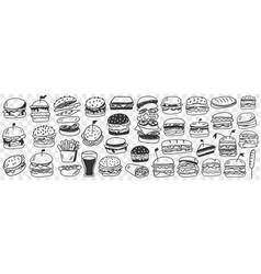 burgers fast food doodle set vector image