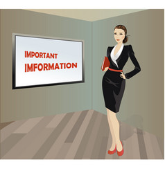 Business woman with a folder in his hands a place vector