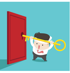 businessman is trying to unlock door vector image