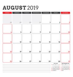 Calendar planner for august 2019 week starts vector