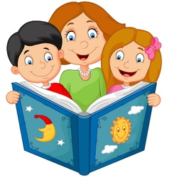 Cartoon mother reading with his children vector image