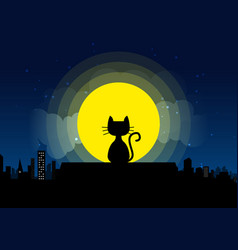 Cat sitting on a roof background of the moonlight vector