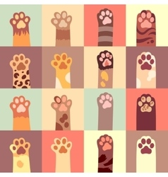 Cats paw flat icon set vector