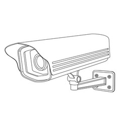 Cctv security camera outline drawing vector
