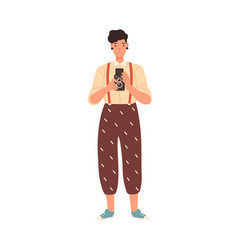 cheerful hipster girl holding camera take photo vector image