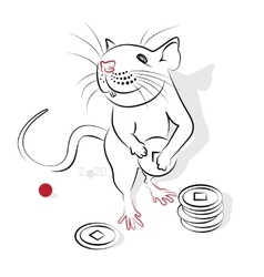 Chinese Calligraphy Rat 2020 vector image