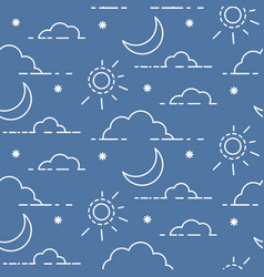 clouds and sun in sky seamless pattern vector image