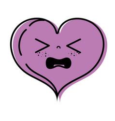 Color gaudy heart love kawaii cartoon vector