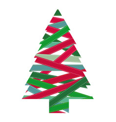 colorful christmas tree silhouette covered by vector image