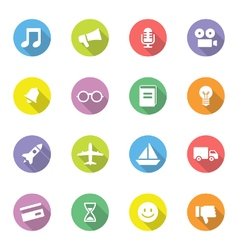 Colorful simple flat icon set 5 on circle with lon vector