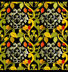 damask autumn leaves 3d seamless pattern vector image