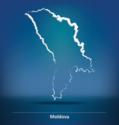 Doodle Map of Moldova vector