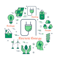 Energy saving concept in green icons vector