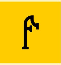 F letter old russian font national folk alphabet vector