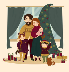 Family at christmas standing near christmas tree vector