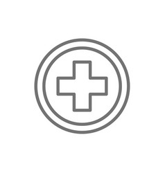 First aid sign pharmacy hospital line icon vector