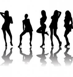 five silhouettes vector image