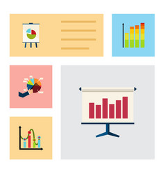 flat icon diagram set of statistic segment easel vector image