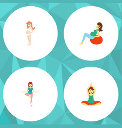 flat icon pregnant set of pregnancy pose lady vector image