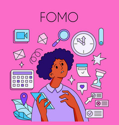 fomo - fear of missing out concept young woman vector image