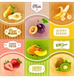 Fruits Berries Flat Icons Composition Poster vector