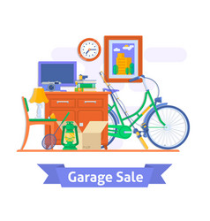 Garage sale household used goodsflat style vector
