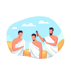 Hajj pilgrims shave their heads vector