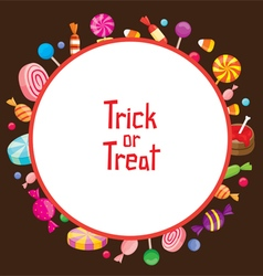 Halloween candy with trick or treat on round frame vector