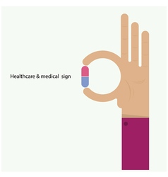 Hand and medicine icon vector image
