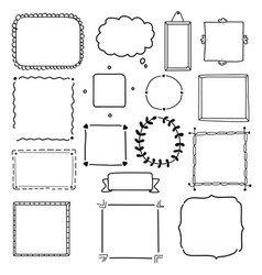 hand drawn frame set wreath collection vector image