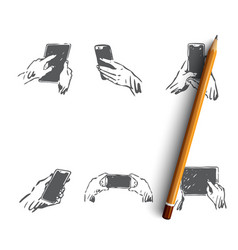 hands with gadgets - human hands holding vector image