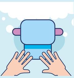 Hands with toilet paper clean bathroom vector