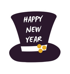 Happy new year cylinder hat vector