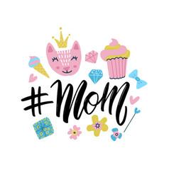 hashtag mom calligraphic inscription vector image