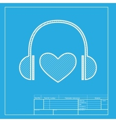 Headphones with heart White section of icon on vector image