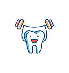 healthy teeth line icon strong tooth holds the vector image