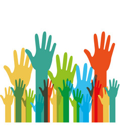 human hands raised with differents colors vector image