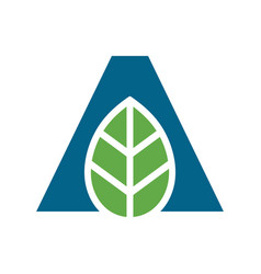 Initial letter a and green leaf logo icon design vector