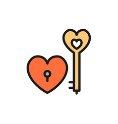 key with heart lock valentine day flat color icon vector image