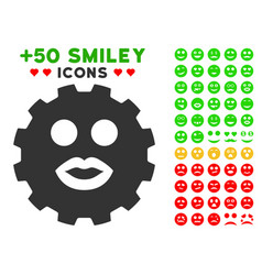 kiss smiley gear icon with bonus smiley collection vector image