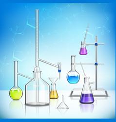 Laboratory glassware composition vector