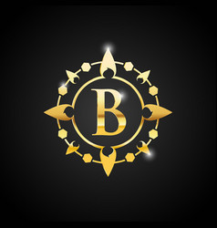 letter b luxury logo gold vector image