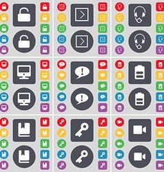 Lock Arrow right Headphones Monitor Chat bubble vector image vector image