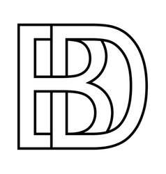 logo sign bd db icon sign interlaced letters b vector image
