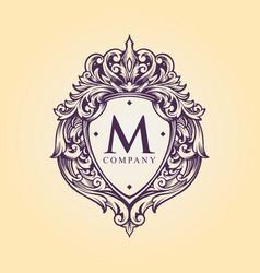 Luxury badge logo monogram flourish decorative vector