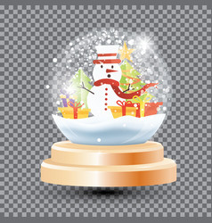 magic christmas crystal ball with snowman gift vector image