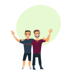 male friendship - two boys men friends hugging vector image
