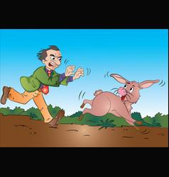 Man running after a rabbit vector